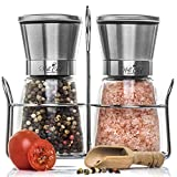 PREMIUM Salt and Pepper Grinder Set of Stainless Steel with Matching Stand – Stainless Steel Milla with Adjustable Ceramic Rotor, Elegant Manual Shakers, Bonus – Free Wooden Spoon – BPA-Free