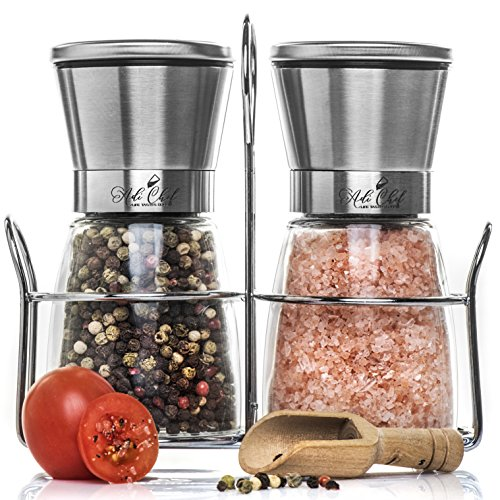 AdiChef Premium Salt and Pepper Grinder Set of Stainless Steel with Matching Stand – Stainless Steel Milla with Adjustable Ceramic Rotor, Elegant Manual Shakers, Bonus – Free Wooden Spoon – BPA-