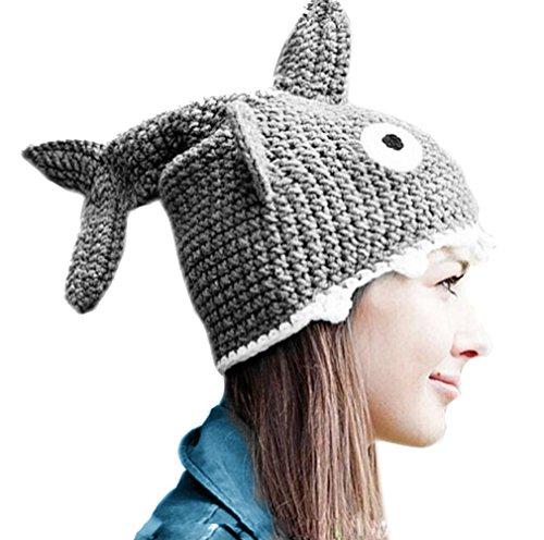 ALLDECOR Shark Beanie Handmade Knitted Hat Halloween Party Cap