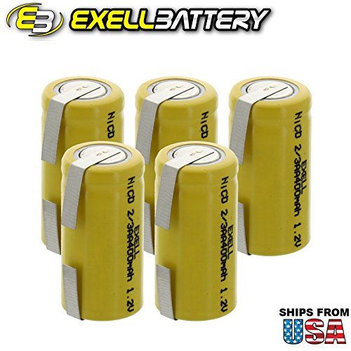5x Exell 2/3AA 1.2V 400mAh NiCD Rechargeable Batteries with Tabs for high power static applications (Telecoms, UPS and Smart grid), electric mopeds, meters, radios, RC devices, electric tools