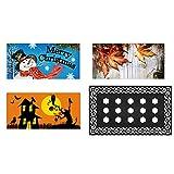 WHY Decor Welcome Mat Seasonal Holiday Switch Doormat Set Door Rug Indoor Outdoor Fall Halloween Christmas Mat Doormat 17 x 29 Inch 3 Inserts and Rubber Mat Tray