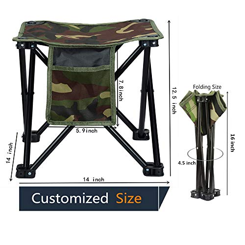 LUCKY CUP Folding Stool Fishing Stool Portable Camping Stool with Carry Bag for Travel Hiking Gardening Picnic Beach BBQ Large Size 12.5 inches ()