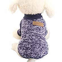 Pet Dog Classic Knitwear Sweater Warm Winter Puppy Pet Coat Soft Sweater Clothing For Small Dogs (XS, Navy blue)