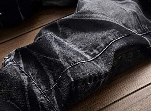 Pretina Fit Pantalones De De De Pantalones Cintura Pantalones De Mezclilla Mezclilla Negro Los Pantalones Retro Vaqueros De Destruidos Slim Sin De Media Rectos Ropa Hombres Ocio Moda XH4w4x