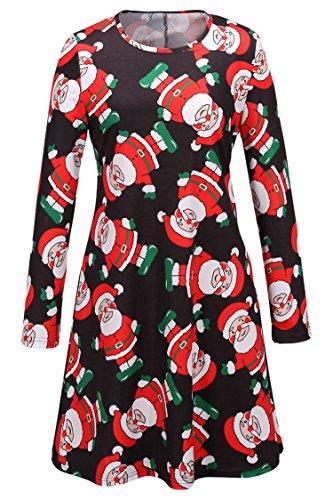 LaSuiveur Multicolor Halloween and Christmas Print Long Sleeve Shift Dress