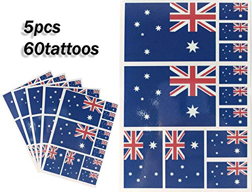 JBCD Australia Temporary Tattoos 60 Pcs Australian Flag Stickers, Waterproof tattoos National Flags Tattoo Patriotic Face Tattoos, Suitable for Sports Event Parties and Pride Decoration (Best Cheap Makeup Australia)