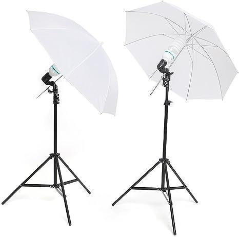 ESDDI Estudio Fotográfico, Kit de Iluminación, Paraguas Fotos para Estudio de Fotografía, 2 x Paraguas Fotografia, 2 x Bombilla 85W 5500k, 2 x Trípode: Amazon.es: Electrónica