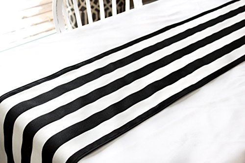Black white striped table runner product image