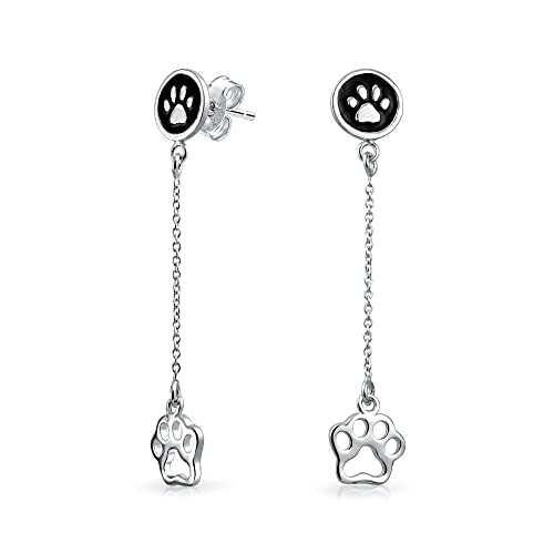 Dog Cat Puppy Kitten Paw Print BFF Pet Pendant Necklace CZ 925 Sterling Silver