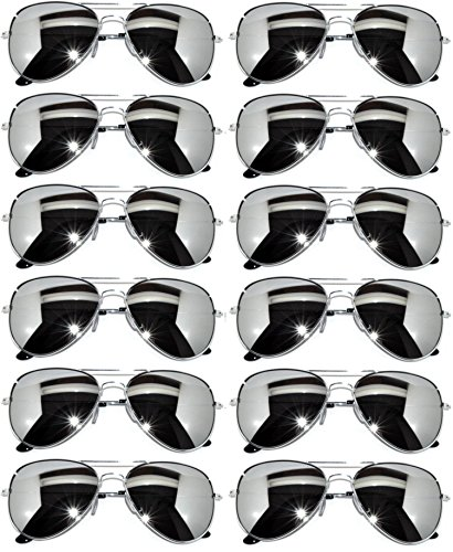 12 Pairs Classic Aviator Sunglasses Metal Gold Silver Black Frame Colored Mirror Lens OWL (Silver_mirror_12, Colored)