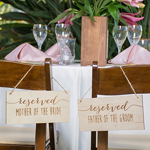 Engraved Wood Reserved Parents Chair Signs Set of 4 (Birch Traditional Chair)