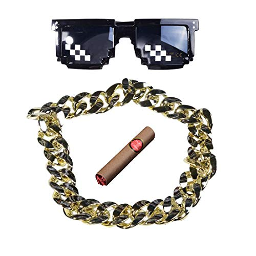 PAUBOLI Meme Thug Life Cosplay 8-Bit Pixelated Sunglasses + Fake Golden Chain and Cigar a Set Minecraft Costumes -