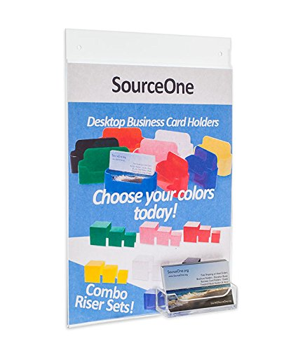 Source One 8-1/2 X 11 Inches Clear Acrylic Sign Holder with Wall Mount and Business Card Holder (S1-w8511-wbc)