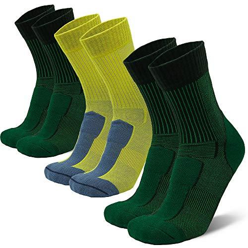 Merino Wool Light Hiking Socks (Multicolor 3-pairs (2 x Green, 1 x Yellow), US Women 8-10 / US Men 6.5-8.5)