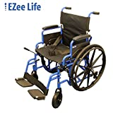 "EZee Life Lightweight Folding Aluminium Wheelchair with Flip Back Desk Arms, Adjustable Armrest, Removable and Swing-Away Footrest - 18"" Seat Width"