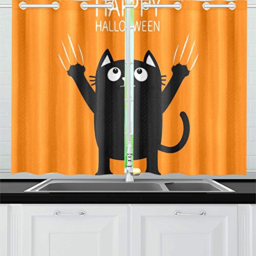ENEVOTX Happy Halloween Black Cat Claw Scratch Kitchen Curtains Window Curtain Tiers for Café, Bath, Laundry, Living Room Bedroom 26 X 39 Inch 2 -