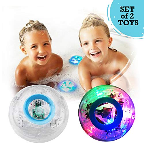 Set of 2 Bath Light-up Toy Safe Waterproof Color Changing Sensory Game for Fun Bubble Bathtime for Girl Boy Baby Toddler Infant Developing Educational Anti-Stress Game for Siblings.
