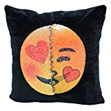 Emoji Covers for Beds SNUG STAR Mermaid Sequin Pillow Case, Reversible Emoji Cushion Cover Changeable Face Pillowcases DIY Decorative Pillowcase for Sofa Home Decor 16 X 16(Lewd and kiss)