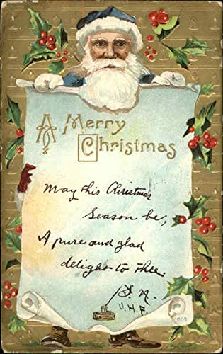 Santa in blue suit and hat holding a Christmas message Santa Claus Original Vintage Postcard -