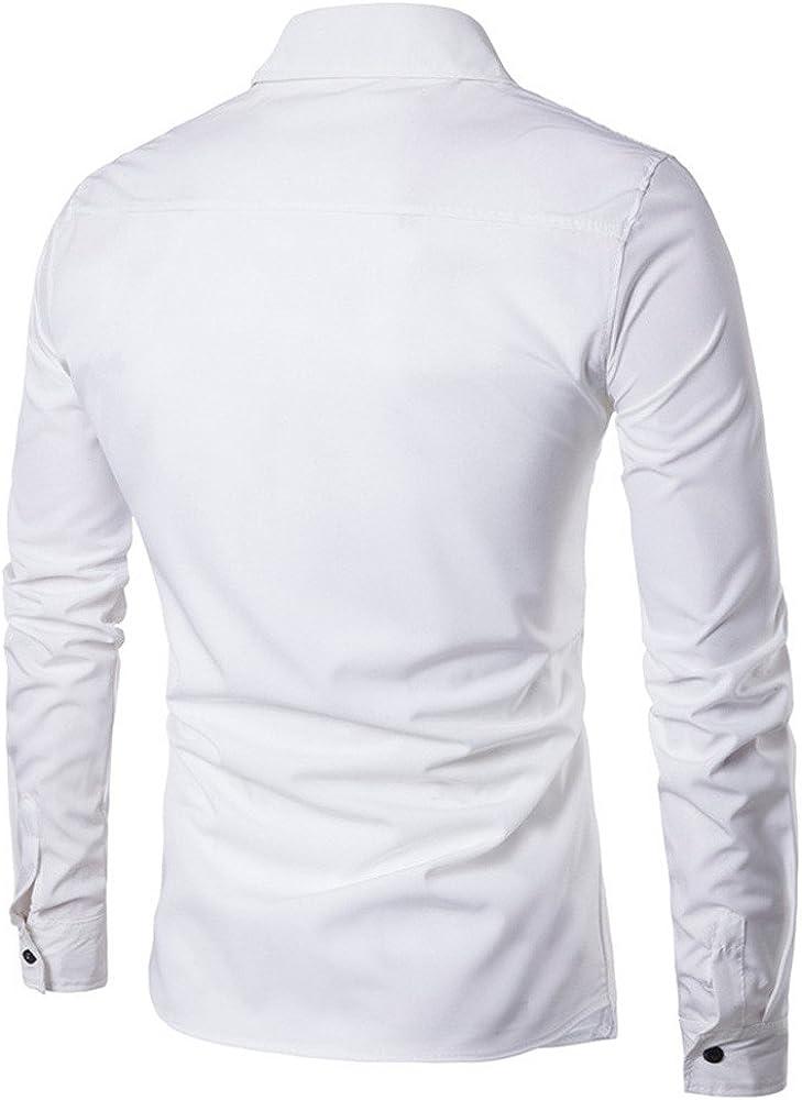 Tefamore Mode Personnalit/é Hommes d/écontract/és Slim /à Manches Longues Chemise Haut Chemisier