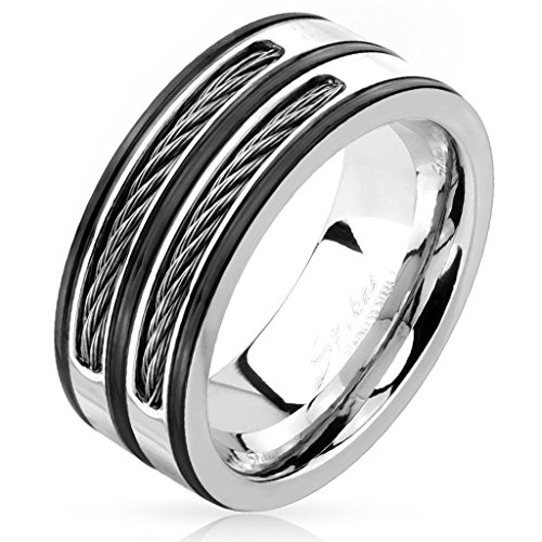 Double Cable Inlay Black Striped Stainless Steel Ring