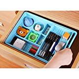 "2 Layer Drawer Organizer Multifunctional Flatware Silverware Stationery Cutlery Tray Utensil Plate Holder Divider Kitchen Office Removable - BLUE 12""*8""*2.3"""