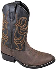 Smoky Mountain Kids Monterey Boots are children's western boots that feature a western toe with a walking heel. Made of faux leather. Perfect for your special little cowboy or cowgirl. Import
