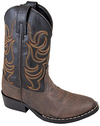 Smoky Mountain Children Boys Monterey Western Cowboy Boots Brown/Black, 2.5M Childrens Round Toe Boot