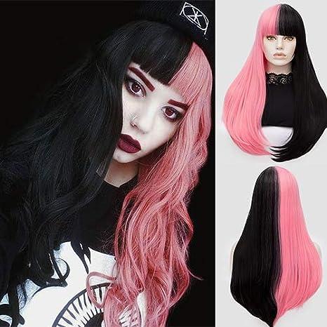 Peluca de pelo largo y liso para mujer, color negro y rosa medio con brazaletes, peluca ondulada natural para niñas, cosplay, fiesta, ...