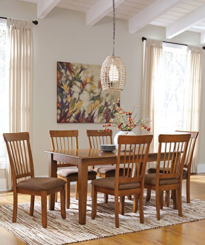 Berring Rustic Brown Dining Room furniture Set, Rectangular Dining Room Table w/ 6 Upholstered Side Chair