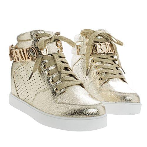 Kvinna Mode Sneaker W Dold Kil Och Metallic Fantastiska Utsmyckning Goldmetallic