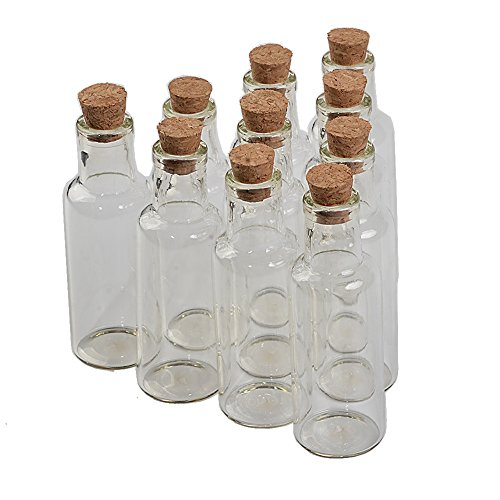 TAI DIAN 50pcs 35ml Transparent Glass Wishing Bottles with Cork Drift Bottles Jars for Wedding Vials Decoration Gifts DIY Jars (50, 35ml) For Sale