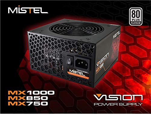 Mistel Vision MX1000 Power Supply with 1000W 80 Plus Platinum Certified PSU, Full Modular Power Supply for PC, Featuring with RGB LED Power Supply Controlled via Motherboard (Rgb Led 1000 Pcs)