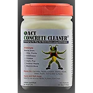 ACT Concrete Cleaner and Degreaser - Industrial and Residential - Remove Oil, Grease, Animal, and Mildew Stains - Perfect For Your Driveway, Garage, or Warehouse - Biodegradable and Non-Toxic