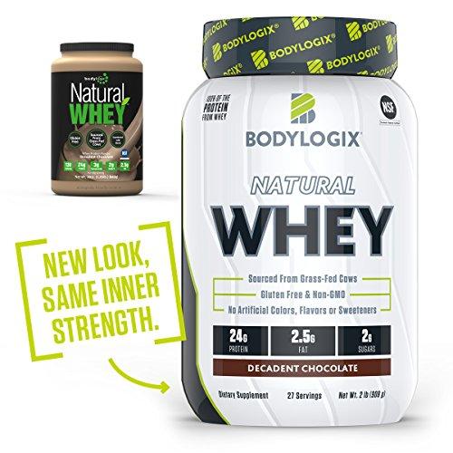 Bodylogix Natural Grass-Fed Whey Protein Powder, NSF Certified, Decadent Chocolate, 2 Pound