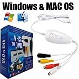 Lvozize VHS to Digital DVD Converter for Mac Windows, USB2.0 Audio/Video Capture Grabber Adapter Device,Transfer VCR TV Hi8 Game S Video to DVD-White (White)