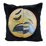 USONG Reversible Emoji Pillow Cover, Emoji Changeable Face Cushion Cover Pillow Cases Decorative Pillowcase 16x16 for Sofa Home Decor DIY