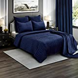 Brielle Premium Heavy Velvet Quilt Set with Cotton Backing, King, Navy