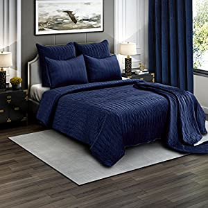 Brielle Premium Heavy Velvet Quilt Set with Cotton Backing, Full/Queen, Navy