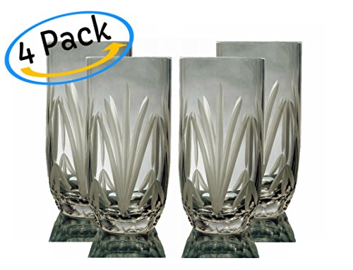 Beverage Highball (GAC Set of 4 Crystal Highball/Ice Beverage Glasses and Glassware Set)