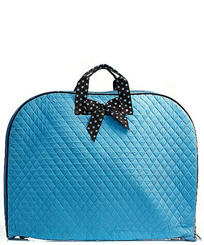 Solid Color Quilted Garment Bag with Polka Dots Ribbon Accent Turquoise Blue & (Designer Inspired Monogram Handbag)