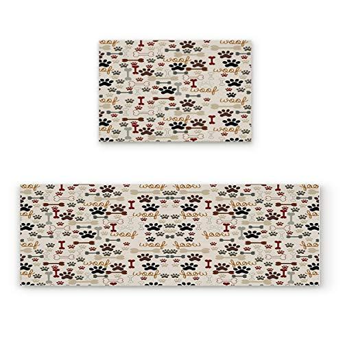 "Aomike 2 Piece Non-Slip Kitchen Mat Rubber Backing Doormat Cartoon Dog Paw Print and Bones Runner Rug Set, Hallway Living Room Balcony Bathroom Carpet Sets (23.6"" x 35.4""+23.6"" x 70.9"") from Aomike"
