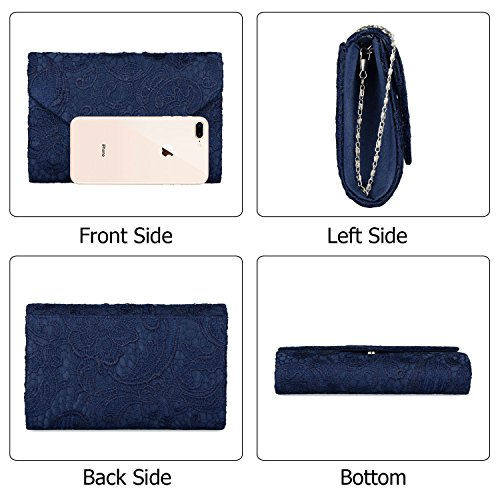 Lace Elegant Women's Floral And Clutches Bags Envelope Prom For Evening EULovelyPrice Party Navy Blue Handbag qwtx15w