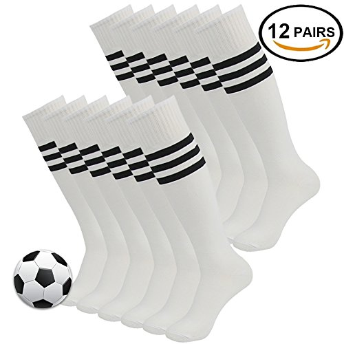 Winter Soccer Socks, 3street Men and Women Sport Performance Cushioned Athletic Striped Long Tube Socks White 2 Pairs