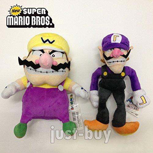 "gg 2PCS Mario Bros. Cart Plush Wario Waluigi Soft Toy Stuffed Animal Doll 11"""