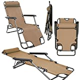 Folding Sun Lounger Foldable Deck Chair Reclining Garden Chair 153 cm + leg rest reclining back + headrest Beige