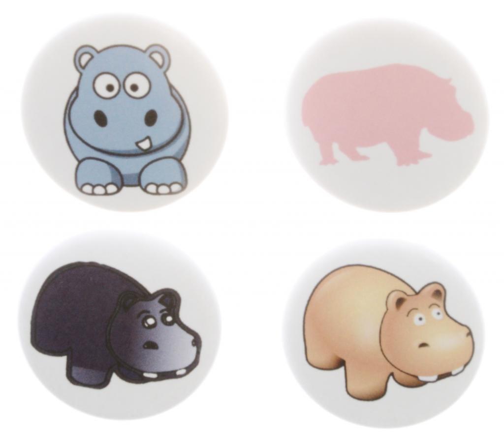 Amazon.com: Set of 4 HIPPOS Magnets - Cute Hippopotamus Hippo ...