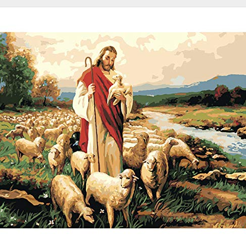 CYKEJISD Jesus Good Shepherd Painting by Numbers Canvas Painitng Home Wall Art Picture Coloring by Numbers