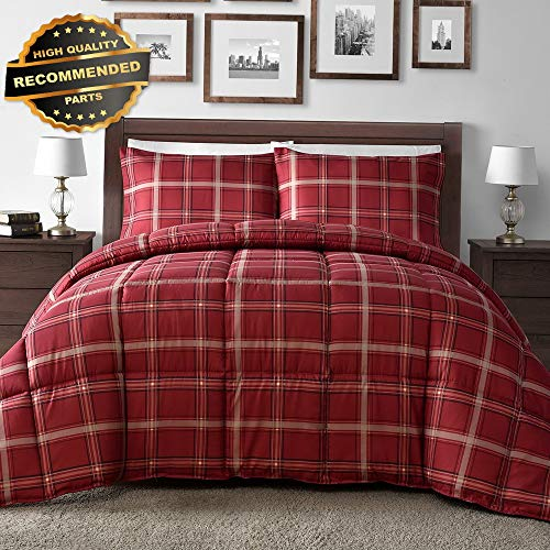 Gatton Premium New Red Plaid Down Altertive 3-Piece Comforter Set (Red, King) | Style Collection ()