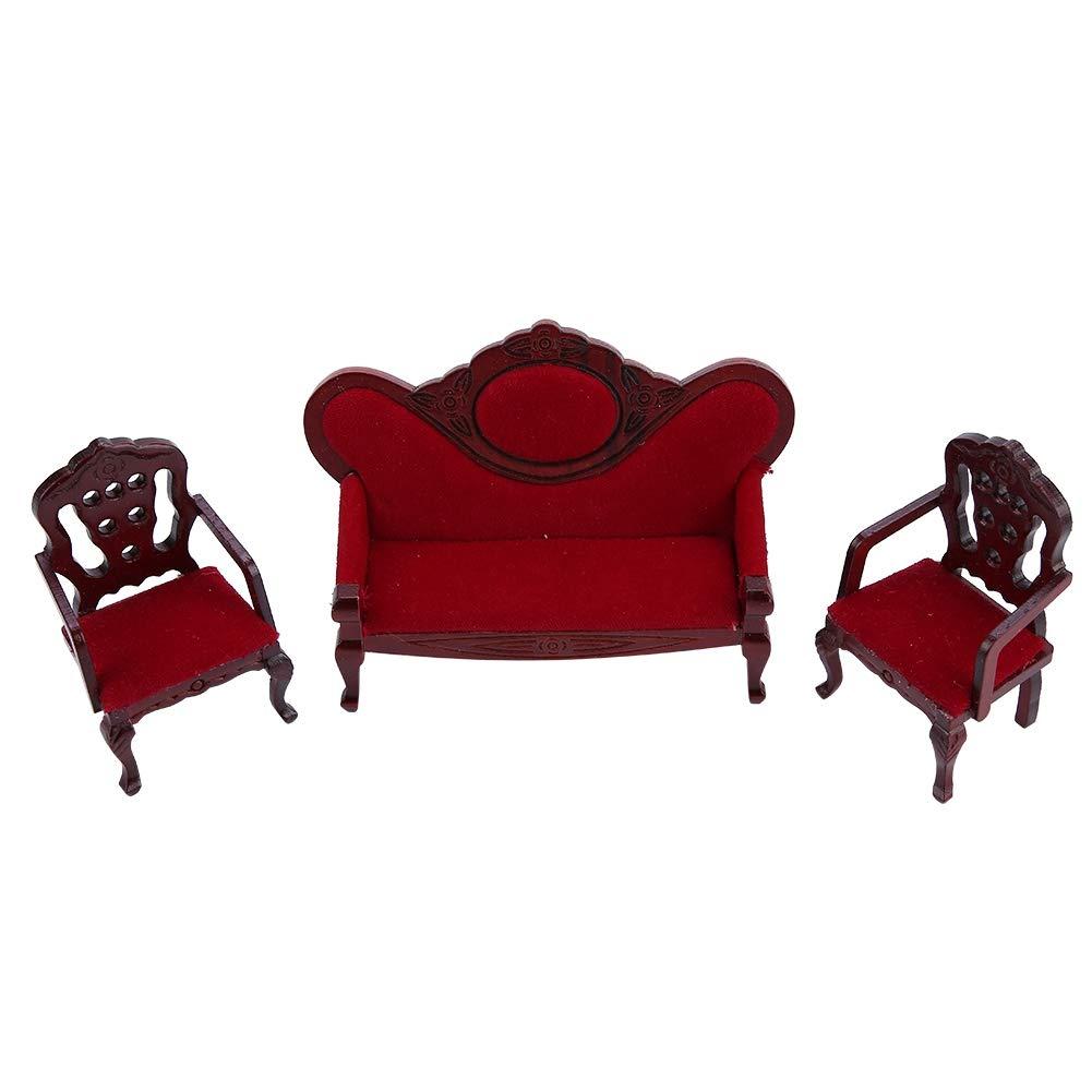 Zerodis 1:12 Miniature Meubles Salon Canap/é Chaise Ensemble Vintage en Bois Mobilier de Poup/ées Canap/é pour Poup/ées Jouet Educatif pour Cadeau danniversaire Enfants